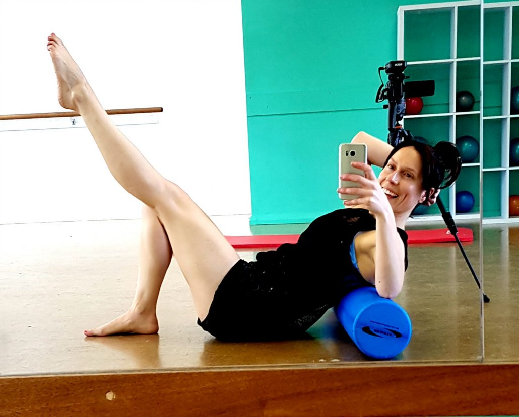 The foam roller is great for muscle recovery after Pilates and fitness workouts